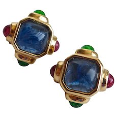 Gold Tone Earrings of Faux Sapphire, Emerald and Ruby, Clip Backs