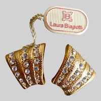 Italian Designer Laura BIAGIOTTI Gold Tone and Crystal Earrings, ClipS