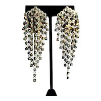 Festive SORRELLI Waterfall Crystal AB Earrings, Clip Backs