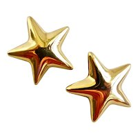 ANNE KLEIN Gold Tone Star Earrings, Clip Backs