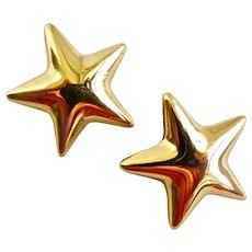 ANNE KLEIN Gold Tone Star Earrings, Clip Backs