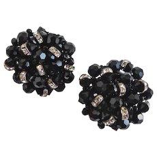 Vintage Earrings of Black Crystal and Rhinestone Rondelles, Clip Backs