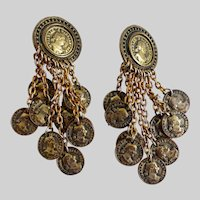 Fabulous 1980s BLANCA Coin  Drop Earrings, Clip backs