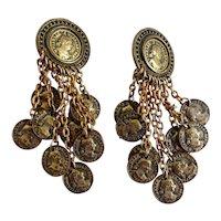Fabulous 1980s BLANCA Coin  Drop Earrings, Clip backs