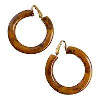 Vintage Hoop Earrings of Marbled Caramel Bakelite, Clips