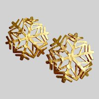 Snowflake Earrings in Matte Gold Tone, Clips