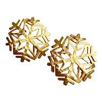 Snowflake Earrings in Matte Gold Tone, Clips