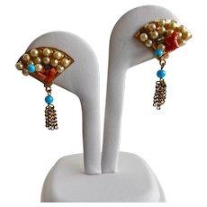 CORO Very Vintage Signed Fan Earrings with Tassel, Clip Backs