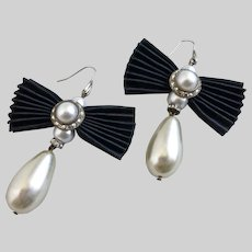 "Black Pleated ""Bowtie"" Earrings with Faux Pearl Drops"