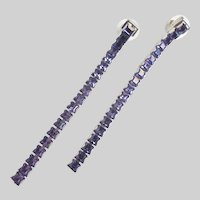 SWAROVSKI Long Earrings of Tanzanite Purple Colored Crystals