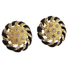 Matte Gold tone, Black Satin and Rhinestone Earrings, Clip Backs