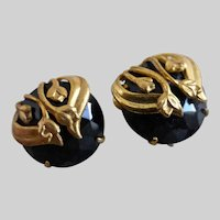 Early Miriam HASKELL Black Faceted Glass and Gold tone Earrings, Clips