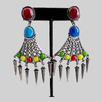 Weird and Wonderful Dark Silver tone Drop Earrings with Multicolored Resin and Glass