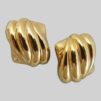 YSL YVES SAINT LAURENT Gold tone Rectangular Earrings, Clip Backs
