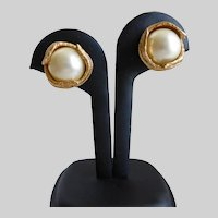CINER Faux Mabé Pearl Clip Back Earrings