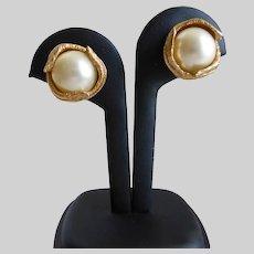CINER Faux Mabé Pearl Clip Back Earrings