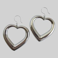 Large Silver Tone Heart Drop Earrings