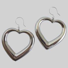 Large Silver Tone Heart Drop Earrings
