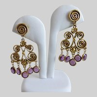 Antiqued Gold tone Spiral Chandelier Earrings with Purple Austrian Crystal Drops, Pierced