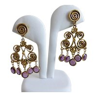 Antiqued Gold tone Spiral Chandelier Earrings with Purple Austrian Crystal Drops, Pierced