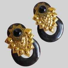 Dramatic Earrings of Dark Natural Horn with Brass, Clip Backs