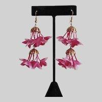 Earrings of Double Drops of Pretty Pink Flower Clusters