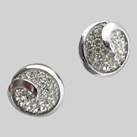 CROWN TRIFARI Rhinestone and Silver Tone Button Clip Back Earrings