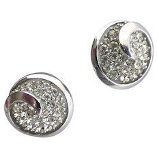 CROWN TRIFARI Rhinestone and Silver Tone Button Clip Back Earrings