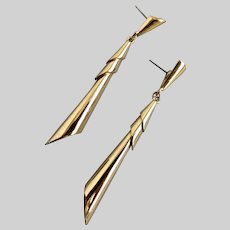 Cool, Long and Slender Vintage Modernist TRIFARI Gold tone Earrings, Post Back