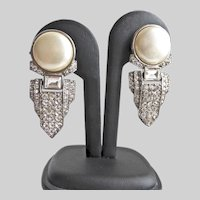 Art Deco Rhinestone and Faux Pearl Earrings, Clip Backs