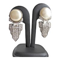 Art Deco Rhinestone and Faux Pearl Earrings, Clip Backs