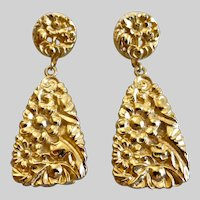 Beautifully Embossed Floral Gold Tone Drop Earrings, Clip Backs