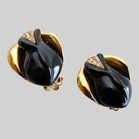 Kenneth J. Lane Black Rosebud Earrings for Avon, Clip Backs