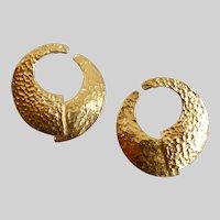 YVES SAINT LAURENT  (YSL) Hammered Gold tone Offset Earrings, Pierced