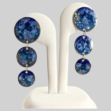 Three Drop Disc Earrings of Blue and Gold Enamel, Post Backs