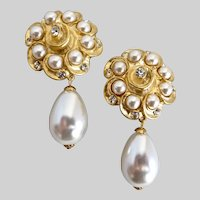 Drop Earrings by CRAFT (Gem-Craft) of Faux Pearls and Rhinestones, Clip Backs