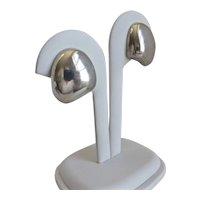 Vintage Sterling Silver Modernist Earrings, Screw Backs