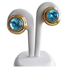 Monet Aqua Crystal and Gold tone Earrings, Clip Backs