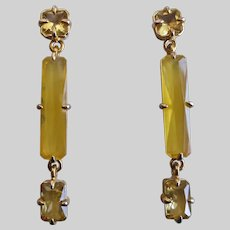 Long Elegant Drop Earrings of Citrine Colored Crystal and Glass, Post Backs