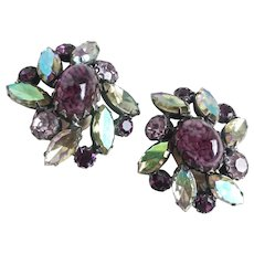 Large SCHIAPARELLI Earrings of Art Glass Cabochon with Purple and Green Iridescent Crystals, Clip Backs