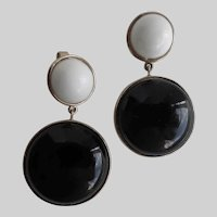 Crown TRIFARI Black and White Drop Earrings, Clip Backs