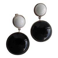 Crown TRIFARI Black and White Drop Earrings, Clip Backs