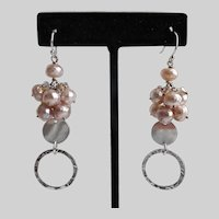 Sterling Silver Earrings of Pink Freshwater Pearls and Swarovski Crystals