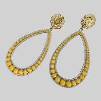 Fabulous Long Yellow Drop Earrings, Clip Backs