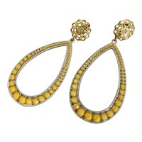 Fabulous Long Yellow Drop Earrings, Clip Backs