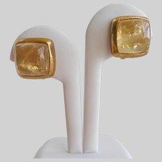 High Dome Citrine Cabochon Earrings by Francesca Romana, Clip Backs