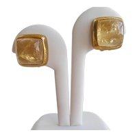 High Dome Citrine Cabochon Earrings Signed Francesca Romana, Clip Backs