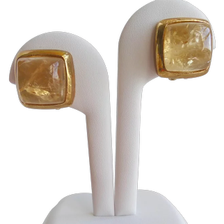 High Dome Citrine Cabochon Earrings Signed Francesca Romana, Clip Backs