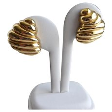"""GIVENCHY   Swirled """"Horn"""" Gold Tone Earrings Signed, Clip Backs"""