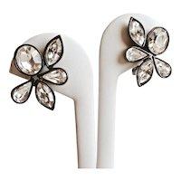 YSL YVES SAINT LAURENT Rare Japanned Clear Crystal Japanned Floral Earrings, Clip Backs